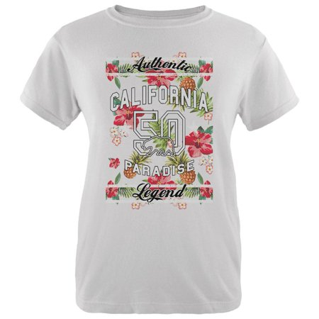 Floral Paradise Found California Womens Organic T Shirt White SM