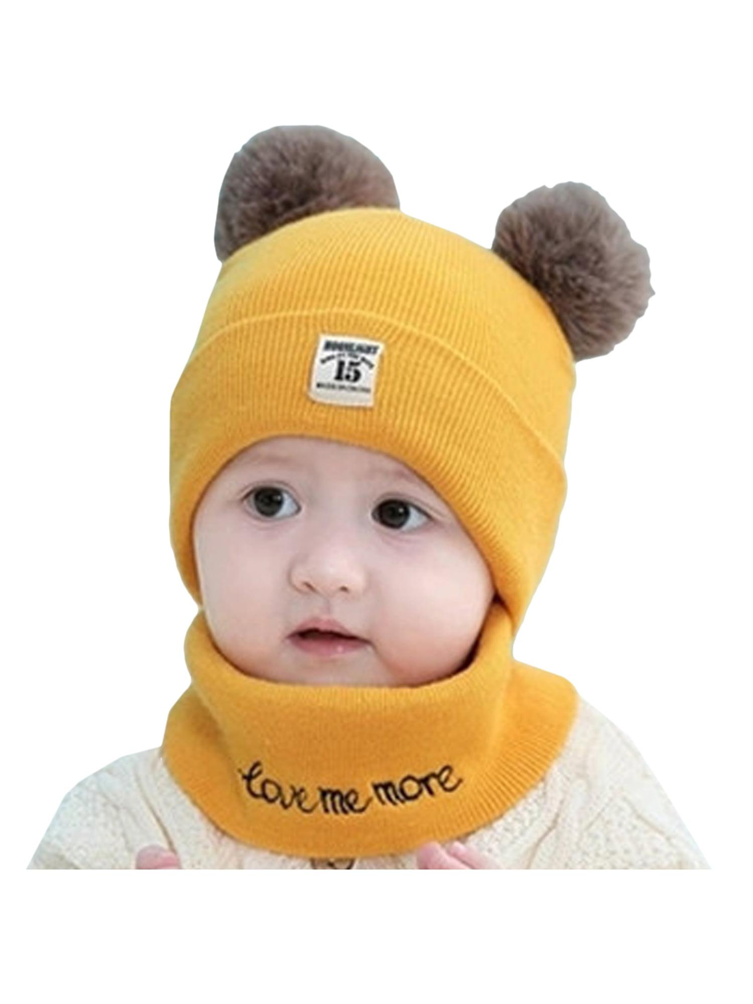 Scarf+Gloves 3 Pieces Set Plush Winter Kids Hats Earflap Children Mittens Girls Boys Winter Warm Hat Hoodie Beanie Cap