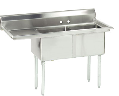 Advance Tabco 56.5 Fabricated Two Compartment Sink () Fe-2-1812-18L by Advance Tabco