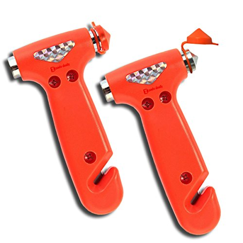 Zento Deals 2 Pack of Window Breaker and Hammer and Seatbelt Cutter-Automobile 2 in 1 Emergency Escape Rescue Tool