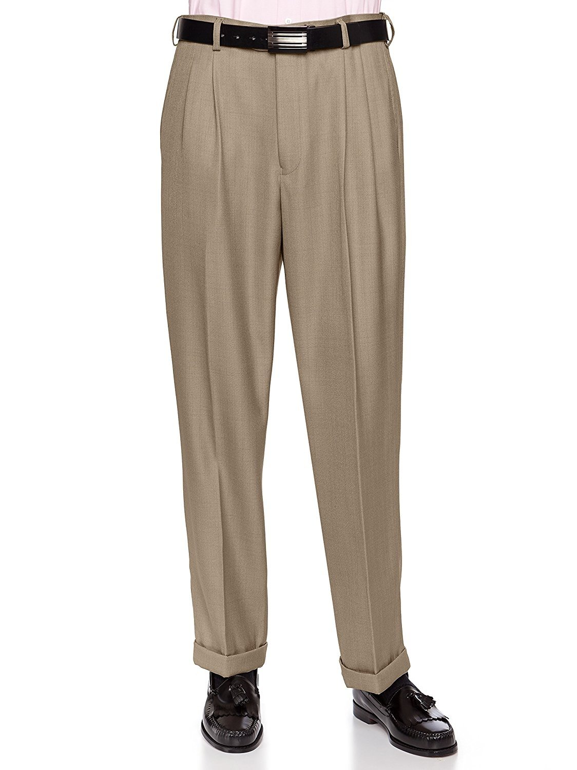 Giovanni Uomo Mens Pleated Front Dress Pants With Hidden Expandable Waist