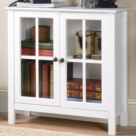 Walnut Display Cabinet (OS Home and Office White Glass Door Accent and Display)