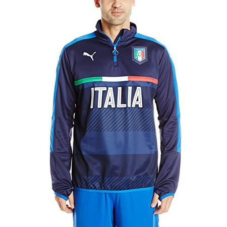 buy online ccdfa 066c4 Puma Men's Figc Italia 1/4 Zip Training Top, Peacoat Team/Power Blue, Large