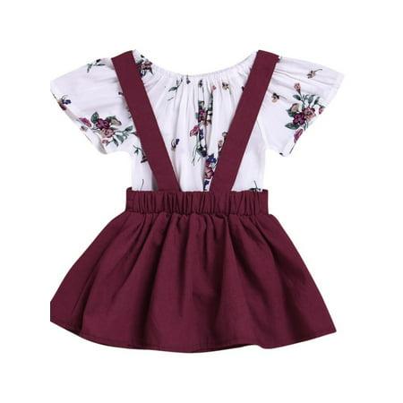 2Pcs Baby Girl Summer Clothes Set Floral Romper Tops+Suspender Braces Skirt