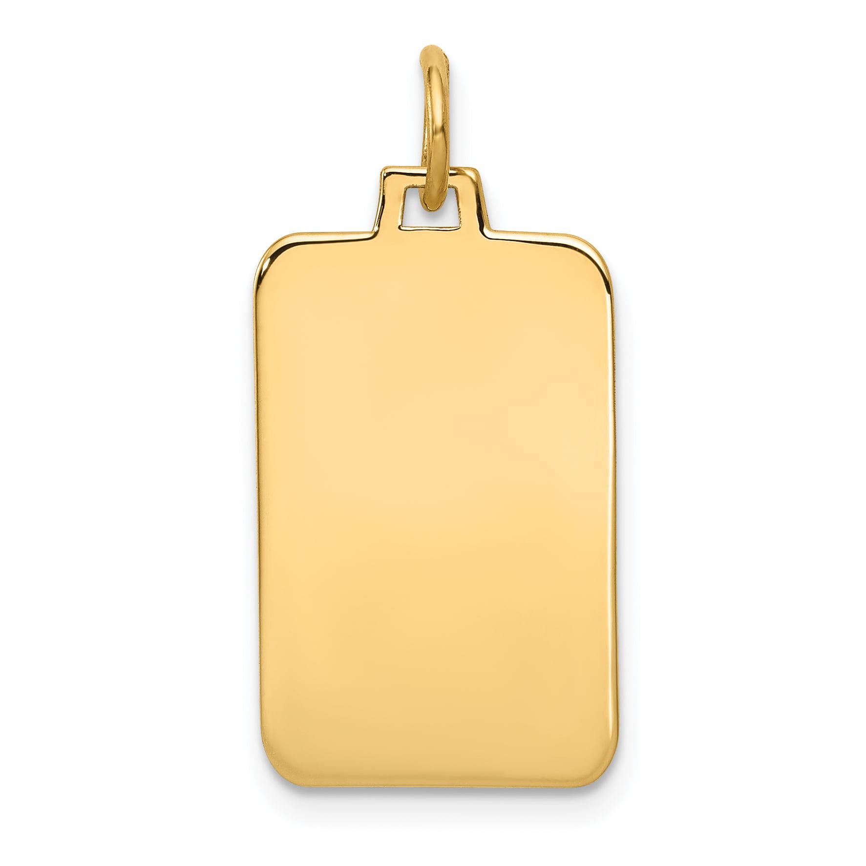 14K Yellow Gold Plain .035 Gauge Engravable Rectangular Disc Charm
