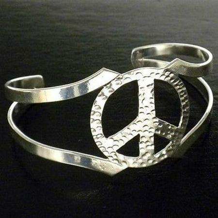 Womens Peace Bracelet - Silver Overlay Hammered Peace Cuff Bracelet - Artisana