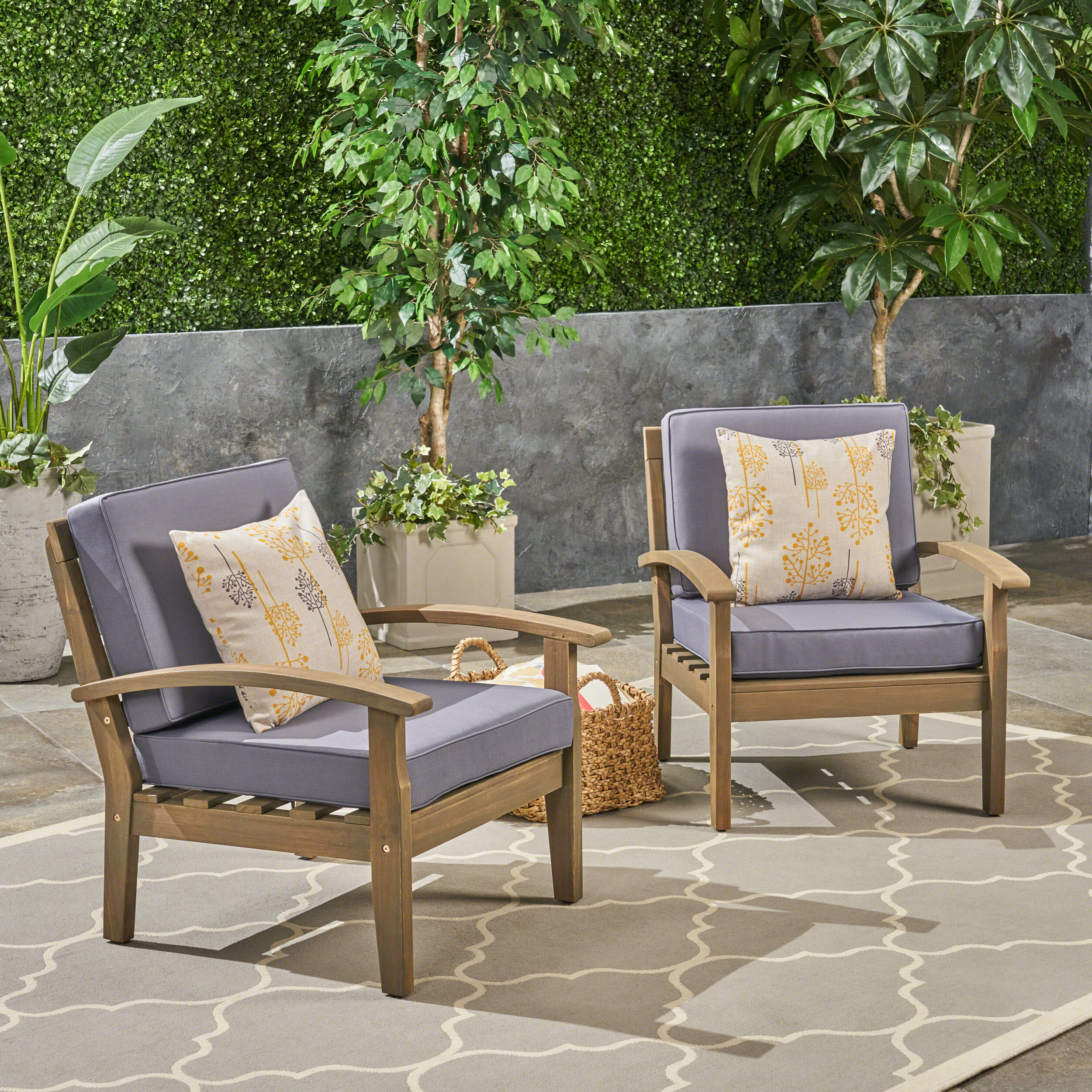 Ryland Outdoor Wooden Club Chairs, Set of 2, Gray, Dark Gray