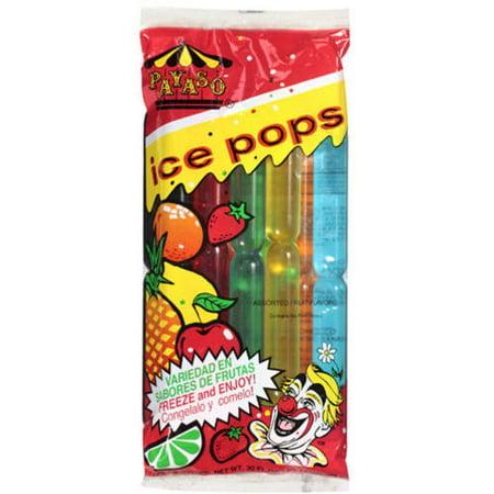 (6 Pack) Payaso Assorted Fruit Flavor Ice Pops, 30 oz - Lifesaver Pops