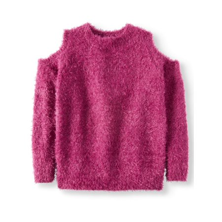 Derek Heart Cold Shoulder Eyelash Pullover Sweater (Big Girls) (Girls Sweaters Pullover)