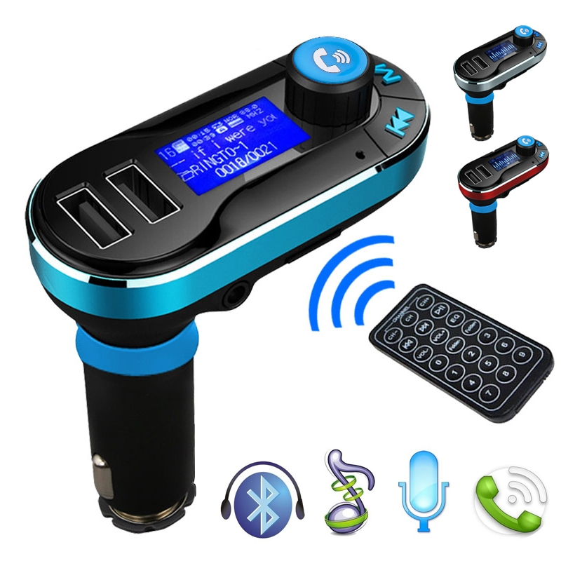 Newest Wireless Bluetooth Car Kit FM Transmitter with Hands-Free Function MP3 Player SD LCD Dual USB Charger SMT