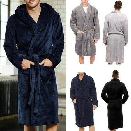 Winter Men's Lengthened Plush Shawl Bathrobe Home Sleepwear Long Robe Coat