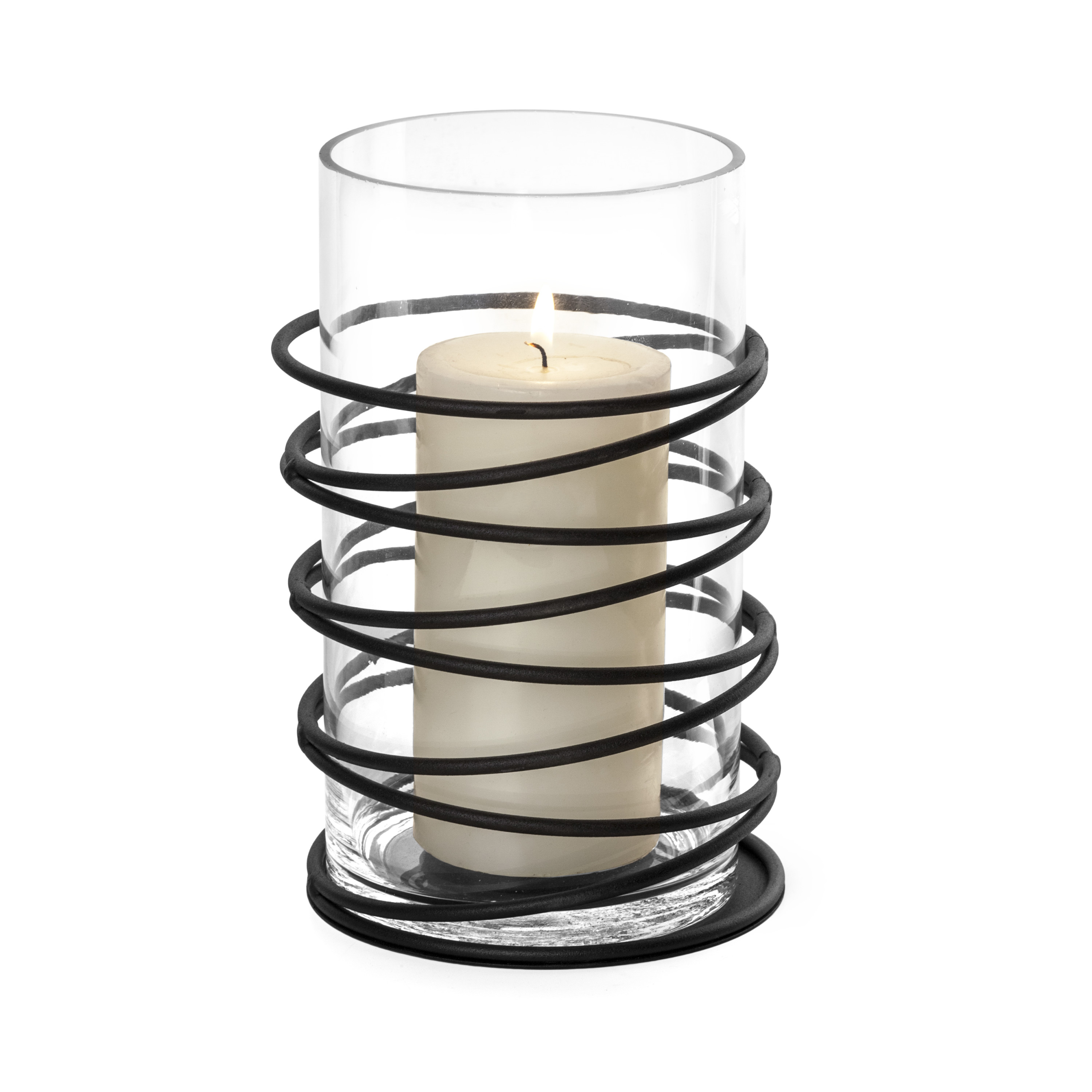Danya B. Swirl Metal and Glass Candleholder Hurricane
