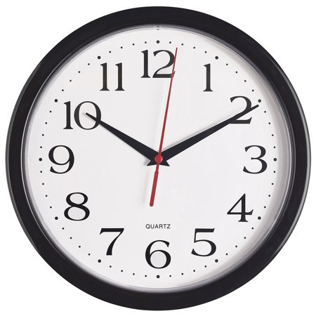 Bernhard Products - Black Wall Clock Silent Non Ticking Quality Quartz