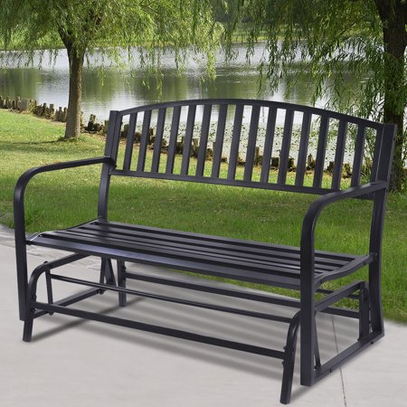 Costway Outdoor Patio Leisure Swing Rocker Glider Bench Loveseat Garden Seat Steel