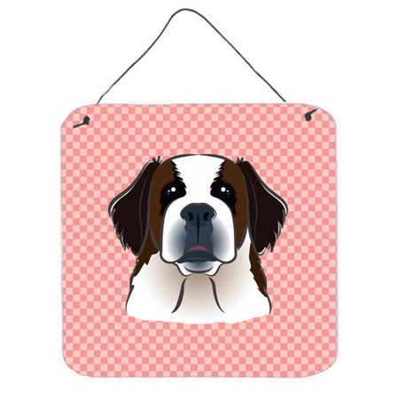 Checkerboard Pink Saint Bernard Aluminum Metal Wall Or Door Hanging Prints, 6 x 6 In.