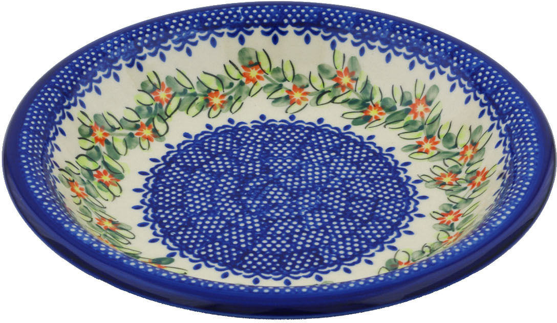 Polish Pottery 9-inch Pasta Bowl (Elegant Garland Theme) Hand Painted in Boleslawiec, Poland + Certificate of... by Ceramika Bona