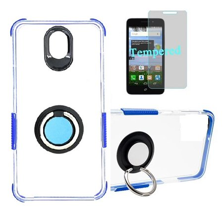 Compatible Case for Straight Talk LG Journey Smartphone / LG Journey /LG Arena 2 / LG K30 (2019) LM-X320 / LG Escape Plus, Clear TPU Case with Shock Edge + Ring (Clear- Blue + Tempered