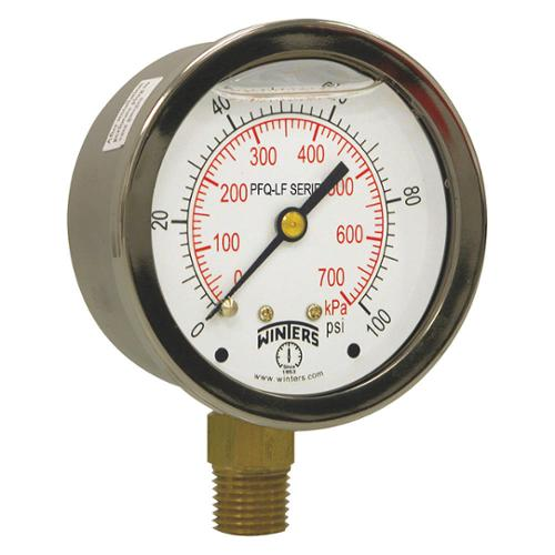 WINTERS Gauge, Pressure, 0 to 300 psi, 4-1/2 in. PCT326LF
