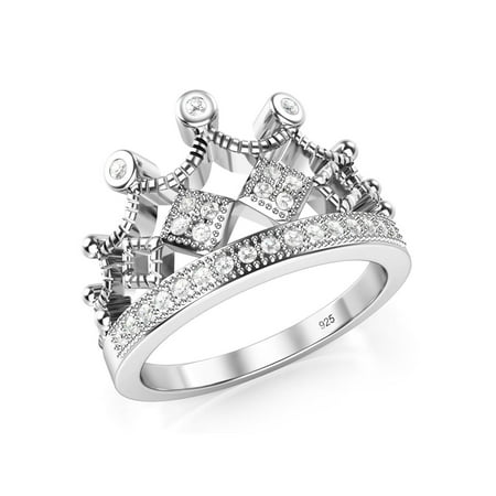 925 Sterling Silver Cubic Zirconia Princess Crown Tiara CZ Band Ring Sz