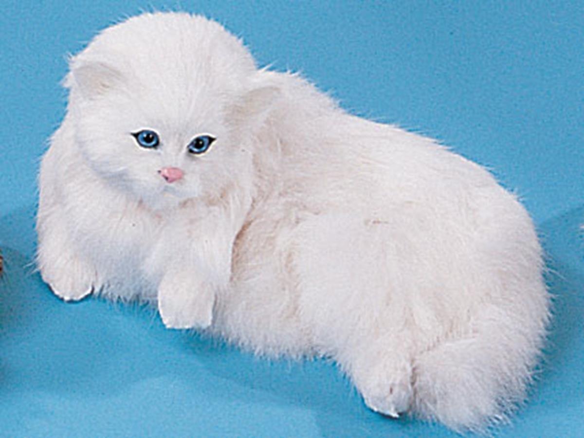 StealStreet C175W Cat Medium Lying Voice Handmade Animal Figurine FAK