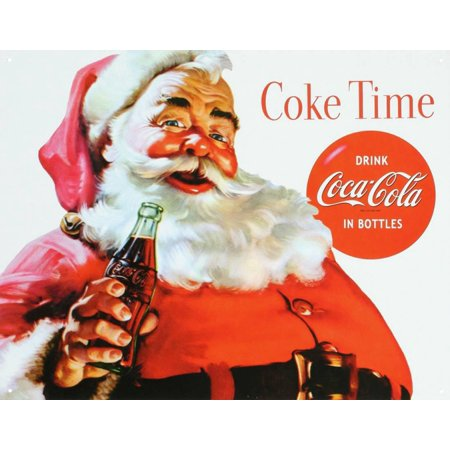 Coca Cola Coke Santa Claus Christmas Tin Sign - (Coca Cola Tin Sign)