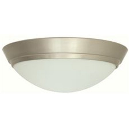 Monument Led Flush Mount Ceiling Fixture, Brushed Nickel, 11-1/8 X 3-3/8 In., 1 13.5-Watt Led Bulb Included