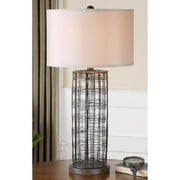 """30"""" Industrial Styled Rustic Bronze Hand Forged Metal Wire Decorative Table Lamp"""