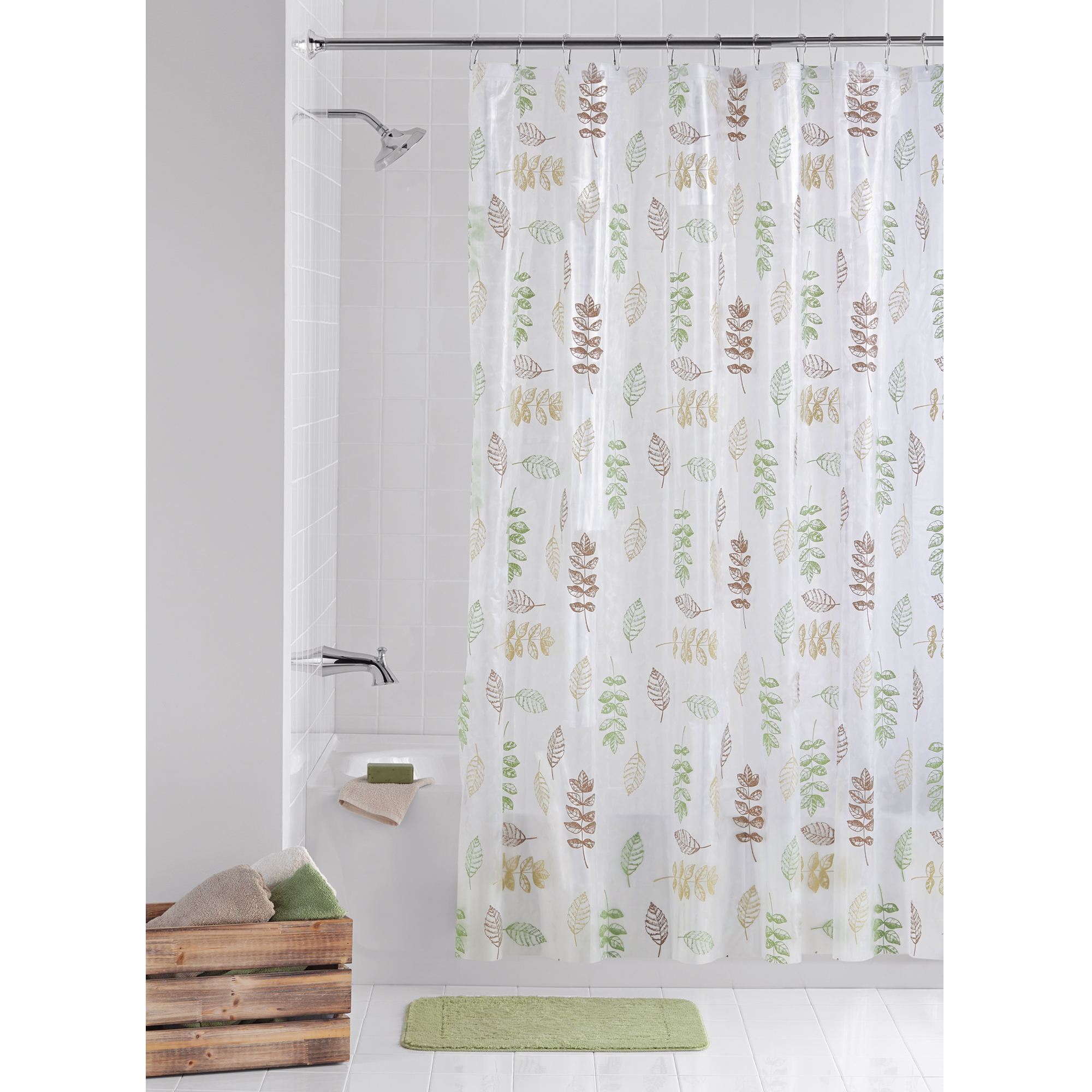 Bon Mainstays PEVA Shower Curtain 13 Piece Bathroom Set