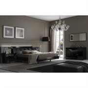 Rossetto Nightfly Platform Bed 4 Piece Bedroom Set in Lacquer Black