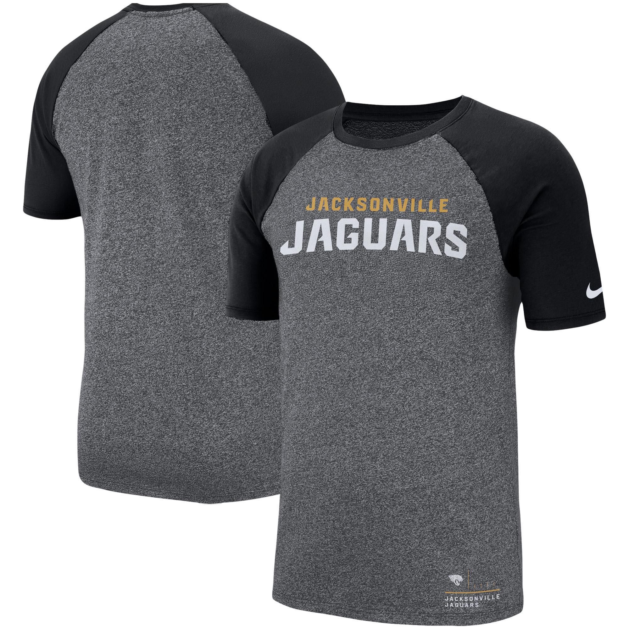 Jacksonville Jaguars Nike Fan Gear Marled Raglan Performance T-Shirt - Heathered Black