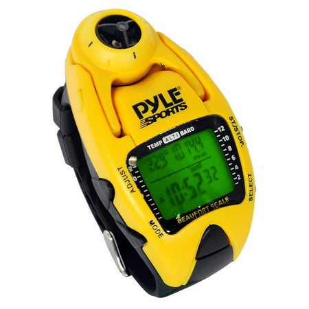 Wind Speed Meter w/ Wind Chill Temp., Altimeter, Barometer, Compass, 10 Laps Chronograph Memory, Yacht Timer (Yellow -
