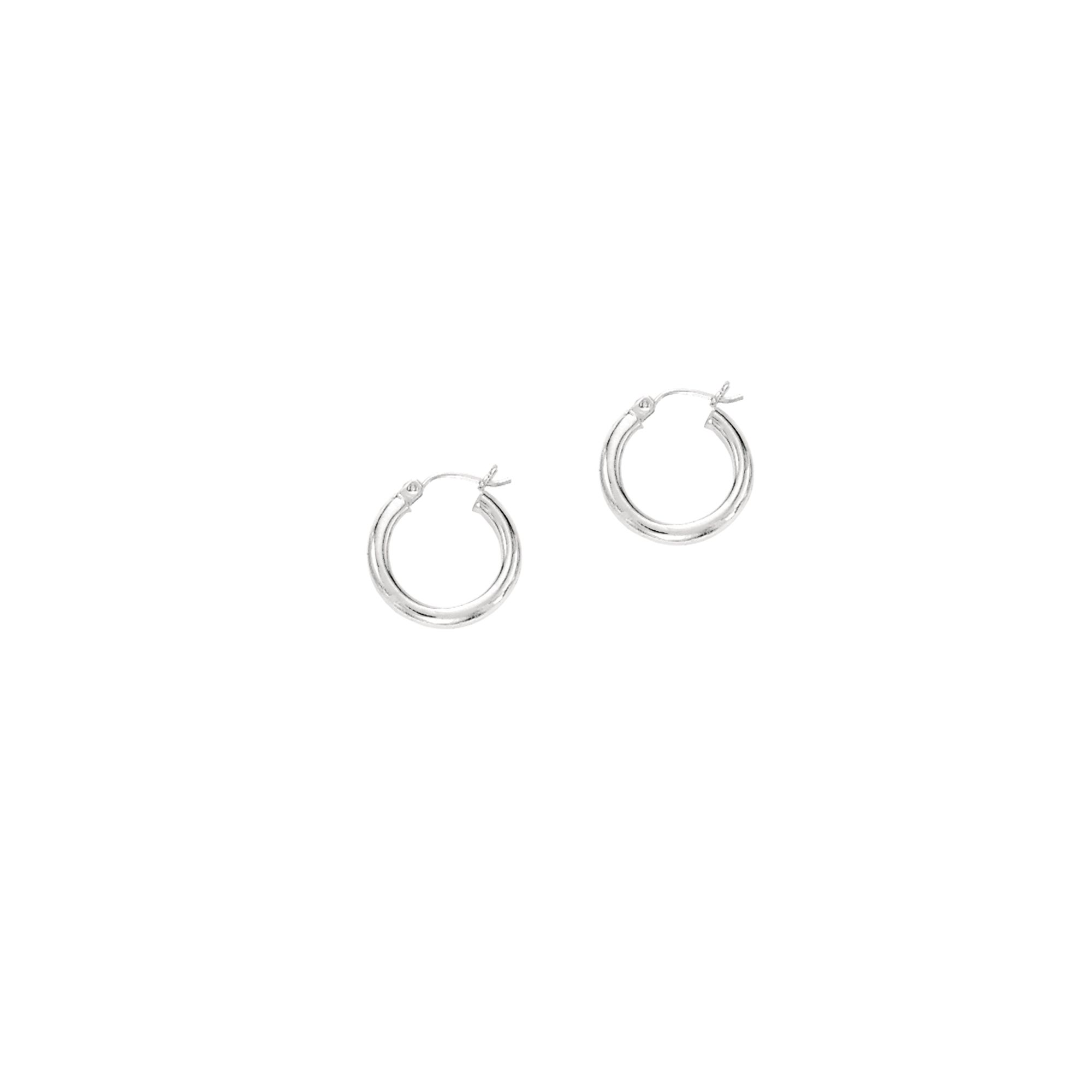 14K Yellow Gold Shiny Diamond Cut Round Tube Design 3mm wide Hoop Earrings with Hinged by IcedTime