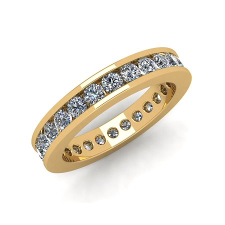 Cut Diamond Ring Band - Natural 1.75Ct Round Cut Diamond Classic Channel Set Women's Anniversary Wedding Eternity Band Ring Solid 10k Yellow Gold I SI2