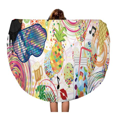 LADDKA 60 inch Round Beach Towel Blanket Party Mix Balloons Glasses Confetti Drinks and Foods Travel Circle Circular Towels Mat Tapestry Beach (Best Mixed Drinks For The Beach)