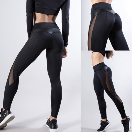 - Women Girl Laidies Sports Yoga Workout Gym Fitness Leggings Pants Jumpsuit Athletic Clothes Black S