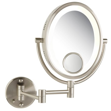 Modern Nickel Wall Mounted Lighted Make Up Mirror Hard Wire