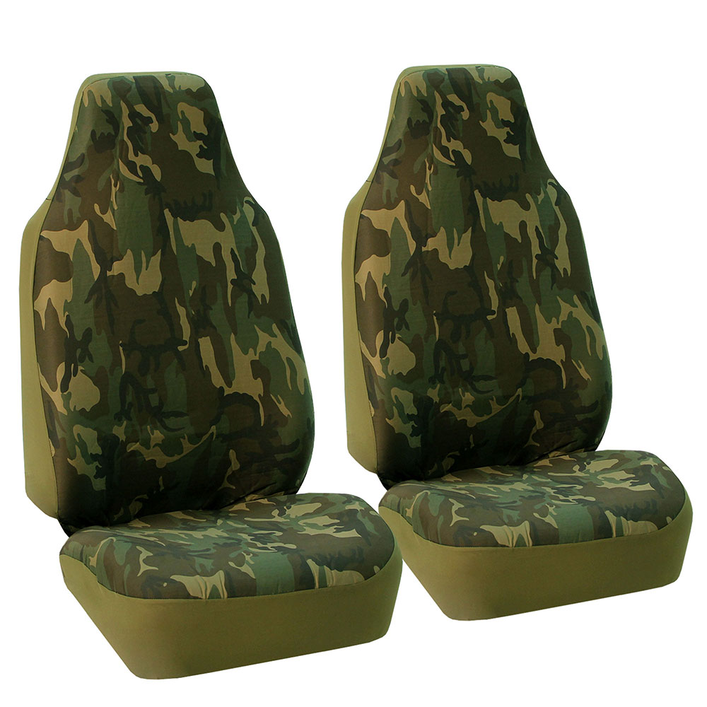 FH Group Camouflage Front High Back Car Truck SUV Bucket Seat Cover, Pair, Airbag Compatible, Dark Camouflage