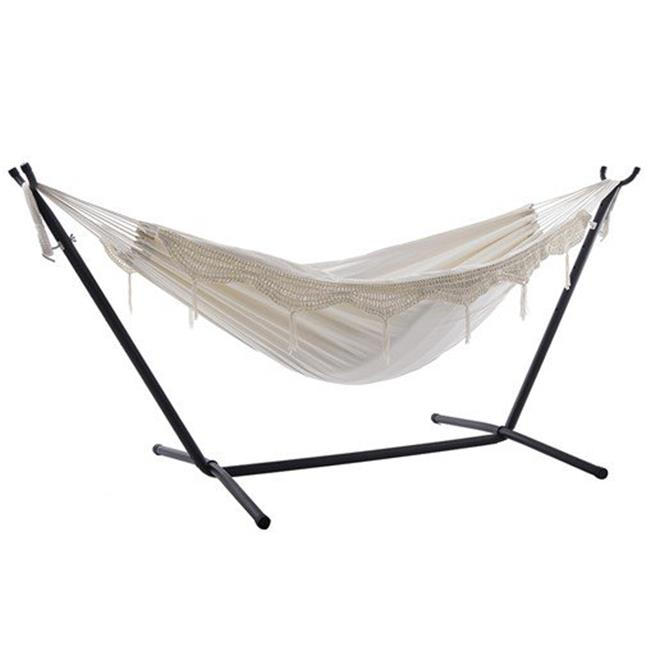 Combo - Double Deluxe Hammock with Stand, Natural with Fringe - 9 ft.