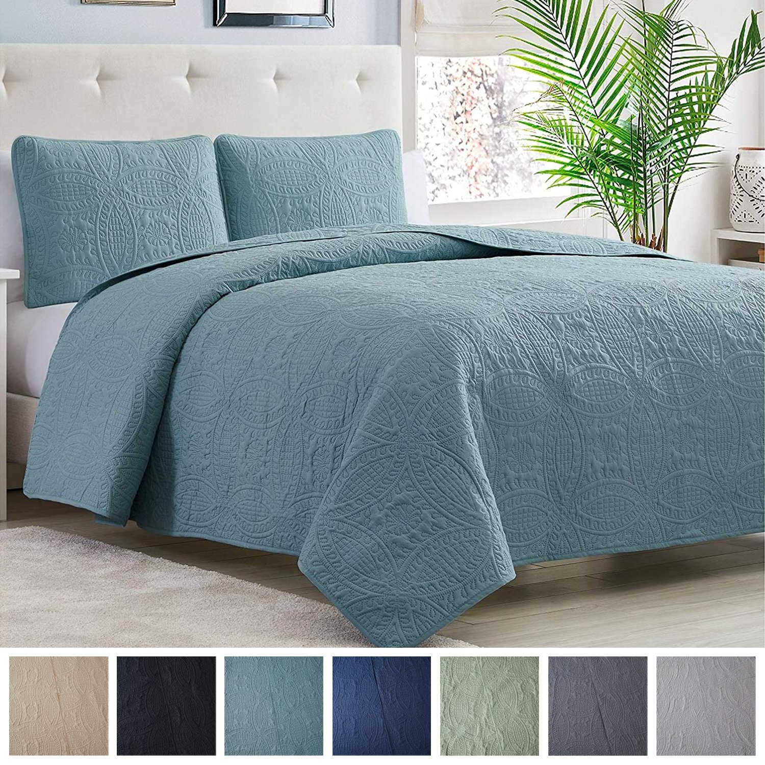 Pinsonic Quilted Austin Oversize Bedspread Coverlet 3-piece Set Turquoise