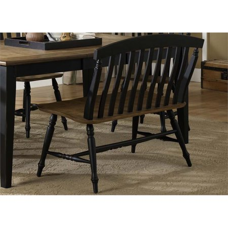 Pleasant Liberty Furniture Al Fresco Ii Slat Back Dining Bench In Black Squirreltailoven Fun Painted Chair Ideas Images Squirreltailovenorg