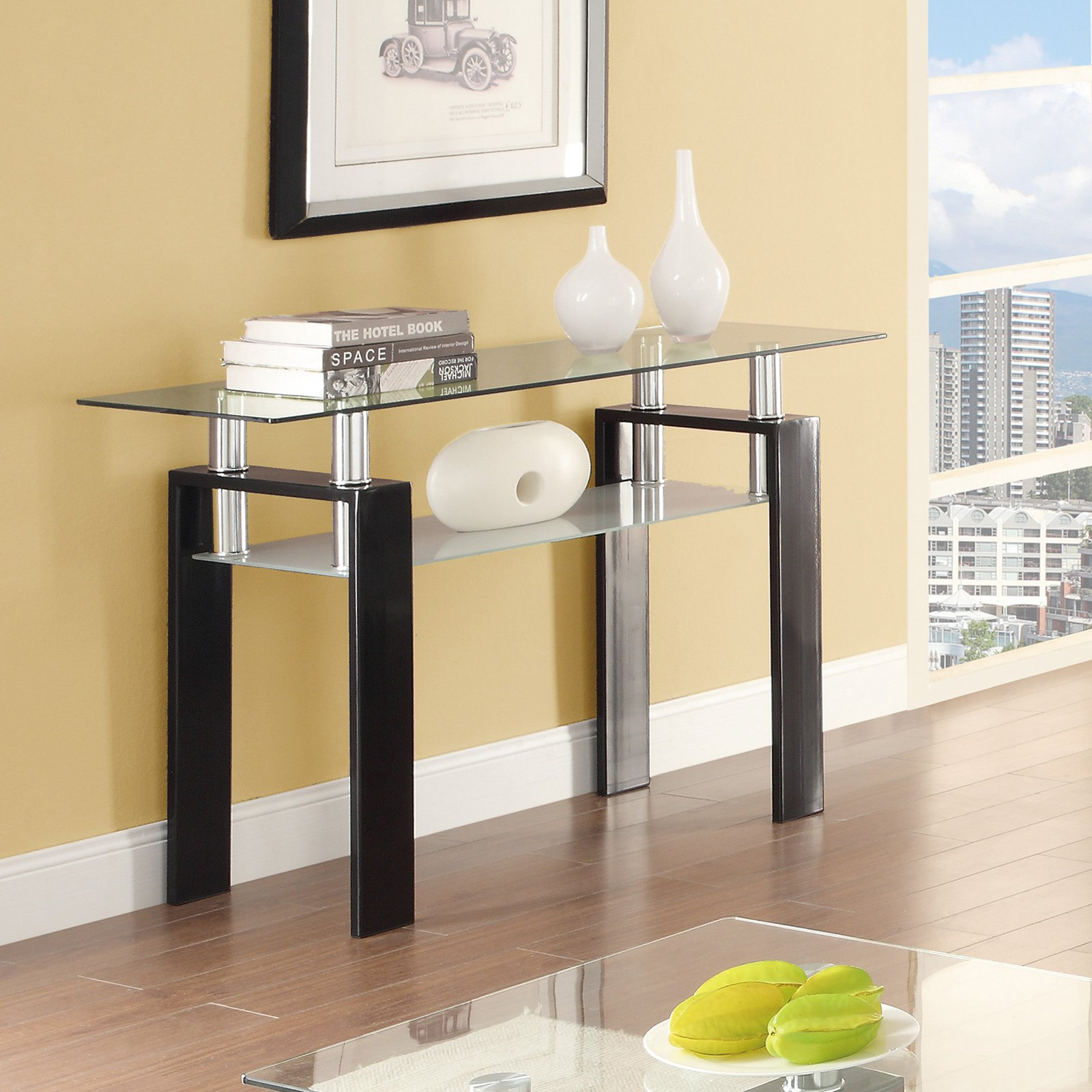 Coaster Furniture Glass Top Sofa Table with Glass Shelf by Coaster