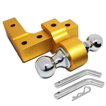 """Aluminum 6""""Drop Adjustable Dual Ball Tow Towing Hitch fits 2"""" Trailer Receiver (Gold)"""