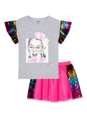 Jojo Siwa Exclusive Girls Flip Sequin Sleeved Top and Sequin Tutu Skirt, 2-Piece Outfit Set, Sizes 4-16