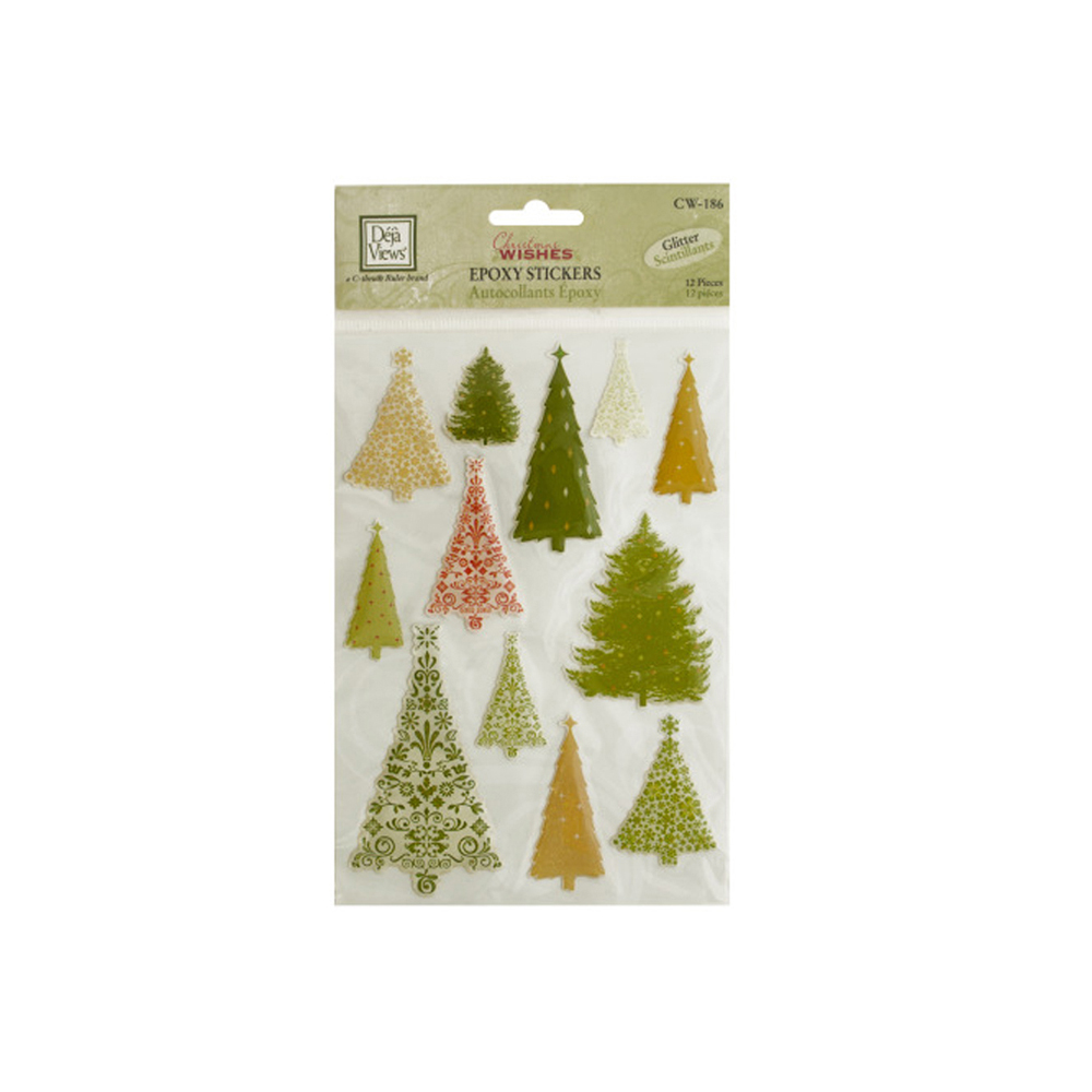 Bulk Buys Christmas Trees Glitter Epoxy Stickers - Pack o...