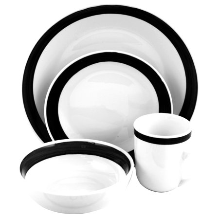 gibson basic liiving iii 16pc dinnerware set black. Black Bedroom Furniture Sets. Home Design Ideas