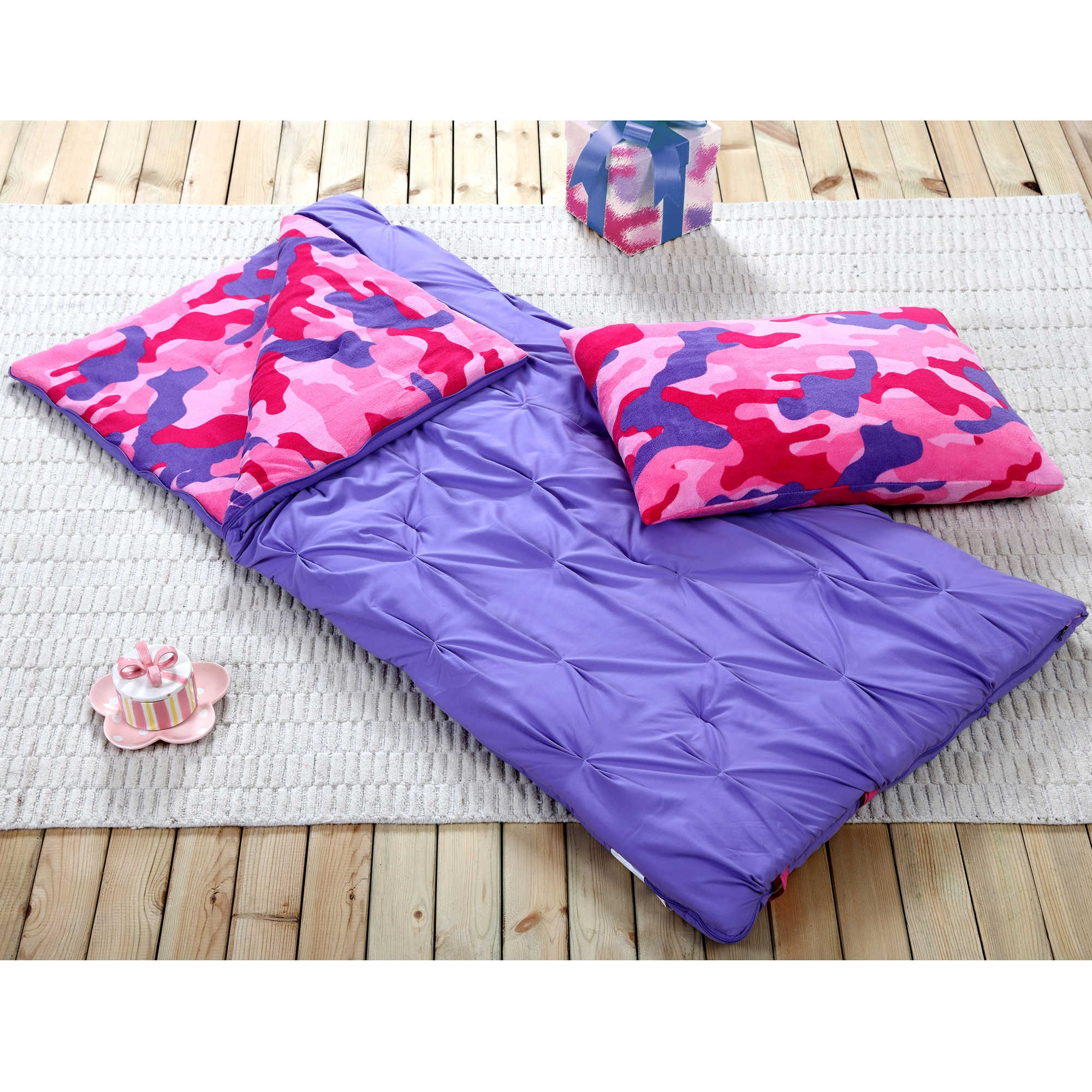 Sleeping Bag and Pillow Cover, Purple Pink Camo Indoor Outdoor Camping Youth Kids Girls by
