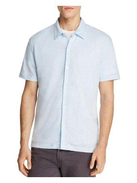7c5e0a5fb2e Product Image Theory Mens Button Front Knit Linen Shirt Medium Pole Light  Blue
