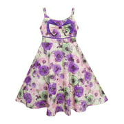 Girls Dress Sling Bow Tie Flower Princess Cotton Purple 3