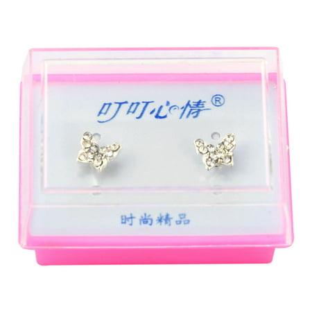 Lady Rhinestone Inlaid Butterfly Shape Stud Earrings Silver Tone