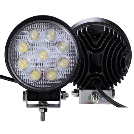 Felji 2 pcs 27W Round Flood Work Light Bar Fog Driving Lamp Truck Tractor SUV 9 LED (Tractor Light Bar)